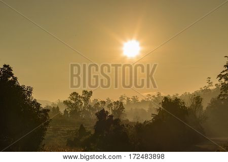 Sunrise on the mountain in morning landscape