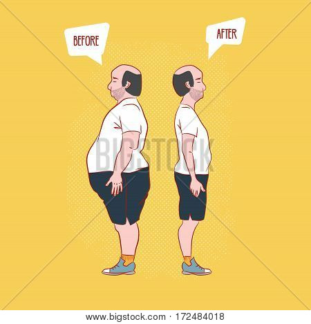 before and after . Man weight loss.Retro style