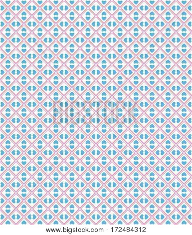 Seamless love pattern. Blue hearts and pink dots on white background