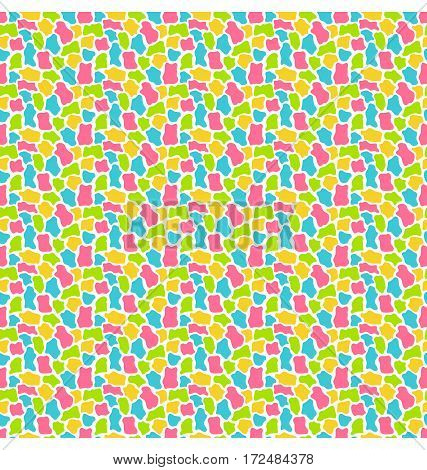Bright fun abstract seamless pattern with uneven spots