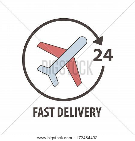 Fast delivery logo with plane in circle. Fast delivery sevice 24 hours. Transportation of cargo by air. Airplane logotype design air transport for shipping goods. Vector illustration company emblem