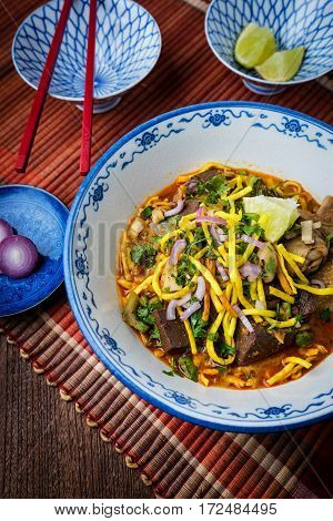 Khao Soi - Traditional Thai Food, Khao Soi Thai Noodle Curry Soup With Chicken