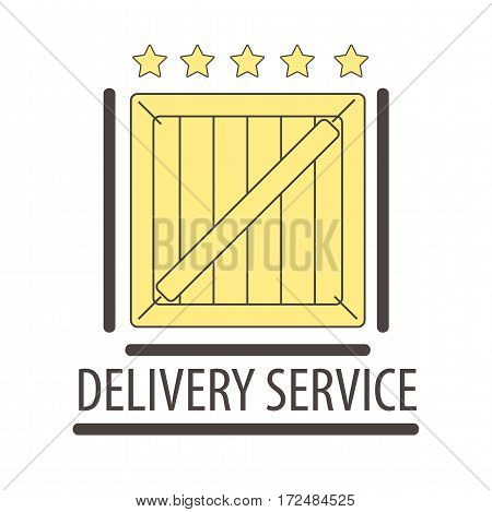 Best quality delivery logo isolated on white. Five stars rate of delivering goods. Wooden box cargo symbol of shipping cargo by air, water and land. Logo design for post company vector illustration