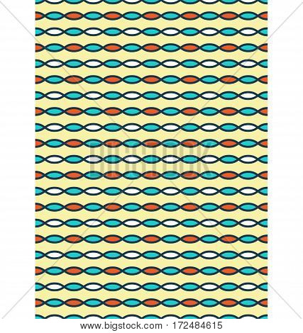 Seamless bright fun horizontal abstract pattern isolated on yellow background