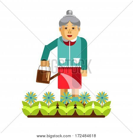 Grandmother watering flowers in the garden isolated on white. Aged woman with waterpot take care about plants in the yard. Vector illustration in cartoon design. Old lady on pension work in garden