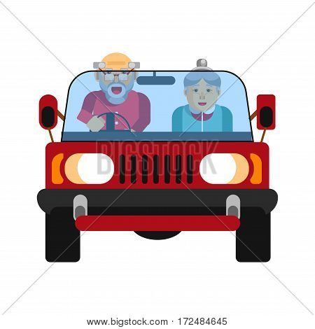 Grandparents driving in car isolated on white. Happy grandmother and grandfather on jeep driving on high speed. Vector illustration of retired drivers couple loving extreme activities in cartoon style