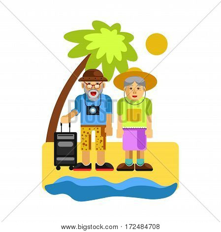 Grandparents on rest near seaside. Happy middle aged couple resting at the beach with palm tree. Elderly man and woman travelling. Grandfather with suitcase. Vector Illustration in flat cartoon design