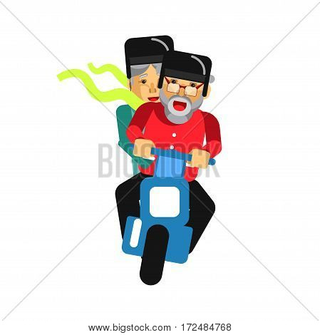 Grandparents driving on motorbike isolated on white. Happy grandmother and grandfather on motorcycle driving on high speed. Vector illustration of retired bikers couple loving extreme activities