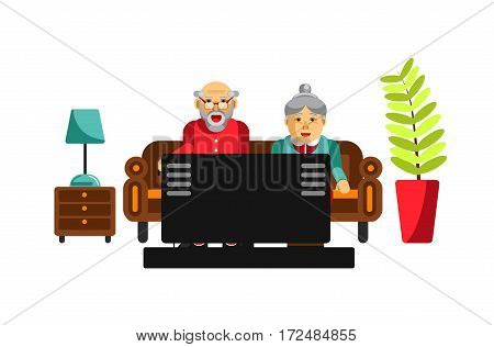 Grandmother and grandfather watching tv on the sofa. Elderly people entertain at home. Grandparents in front of tele in the living room. Plant in pot and lamp on chest of drawers vector illustration