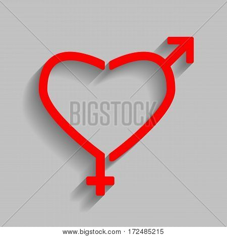 Gender signs in heart shape. Vector. Red icon with soft shadow on gray background.