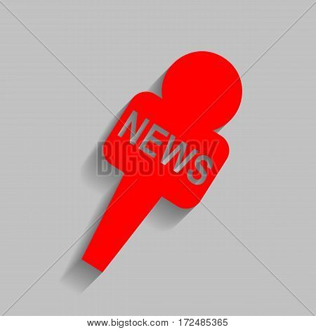 TV news microphone sign illustration. Vector. Red icon with soft shadow on gray background.