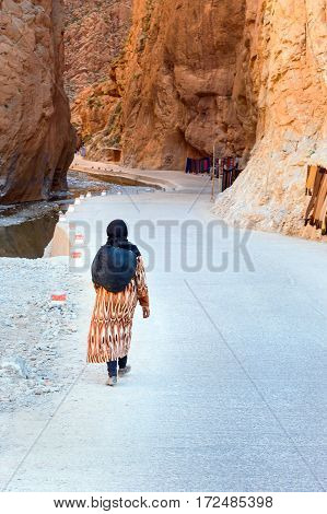 Moroccan Woman Goes To Todgha Gorge In Morocco