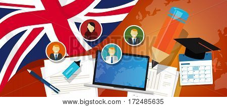 UK United Kingdom England Britain education school university concept with icon laptop paper pencil cap student vector