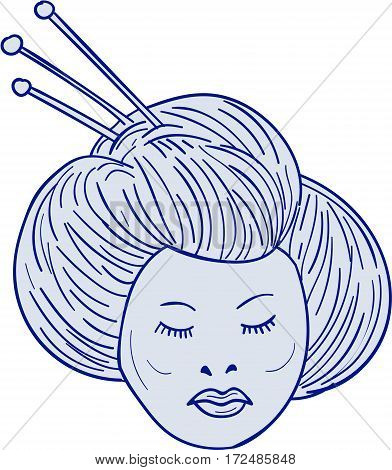 Drawing sketch style illustration of head of Geisha geiko or geigi girl traditional Japanese female entertainer who act as hostesses viewed from front set on isolated white background.