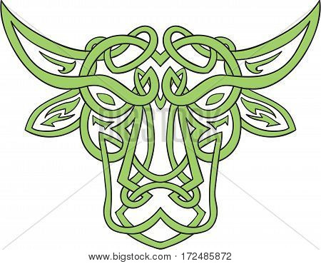 Illustration of stylized taurus the bull made in Celtic knot called Icovellavna plait work or knotwork woven into unbroken cord design set on isolated white background.