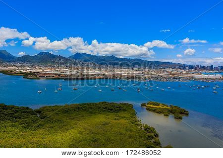 Aerial View Of The Port And Mountains In Honolulu Hawaii