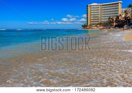 Waves Breaking On Waikiki Beach In Honolulu Hawaii