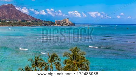 View Onto Diamond Head In Waikiki Hawaii