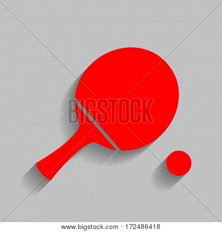 Ping pong paddle with ball. Vector. Red icon with soft shadow on gray background.