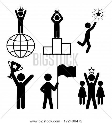 Win Leader People Flat Icons Pictogram Isolated on White Background