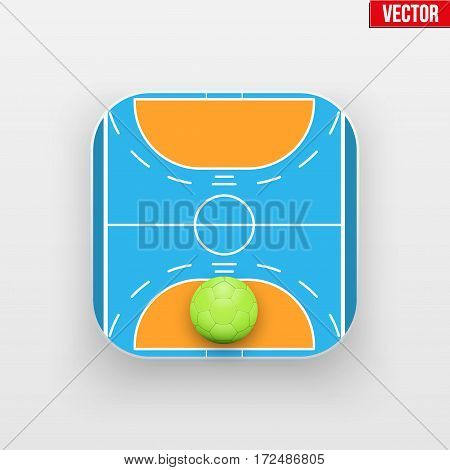 Square icon of handball sport. Sporting arena and ball. Vector Illustration isolated on background.