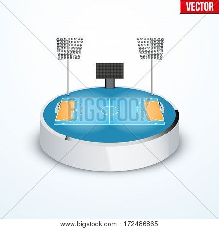 Concept of miniature round tabletop handball arena. In three-dimensional space. Vector illustration isolated on background.