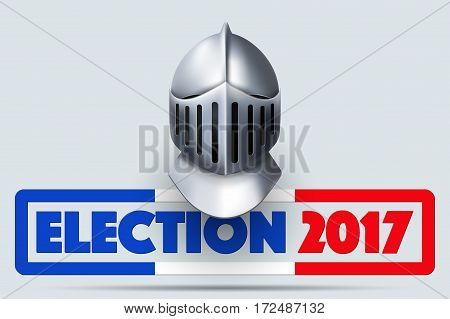 Knight Helmet with French Election 2017 Symbol. Design template and element. for greeting and invitation. Vector Illustration