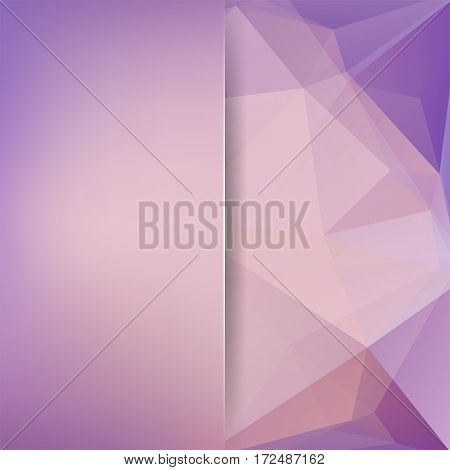 Background Made Of Purple, Beige Triangles. Square Composition With Geometric Shapes And Blur Elemen