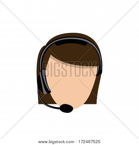 color face woman technological services icon, vector illustration design