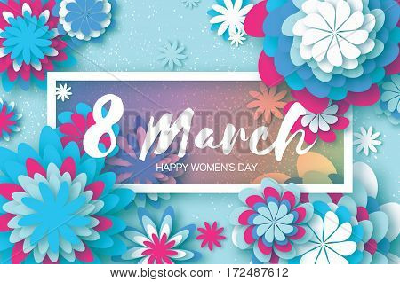 White Blue Paper Cut Flower. 8 March. Women's Day Greeting card. Origami Floral bouquet. Rectangle frame. Space for text on blue background. Happy Mother's Day. Vector Spring illustration