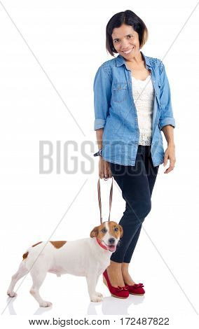 Asian woman and her dog on white background