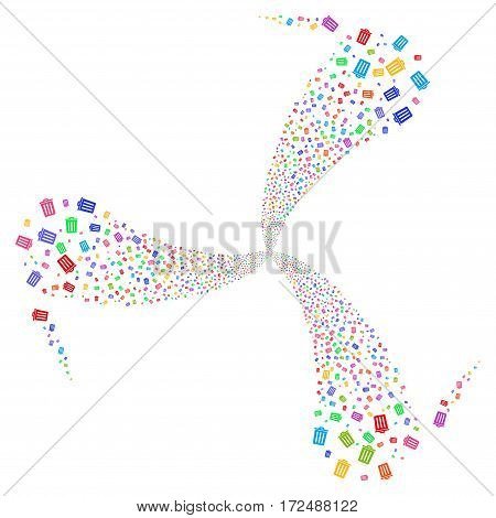 Dustbin fireworks swirl rotation. Vector illustration style is flat bright multicolored iconic symbols on a white background. Object whirlpool created from random design elements.