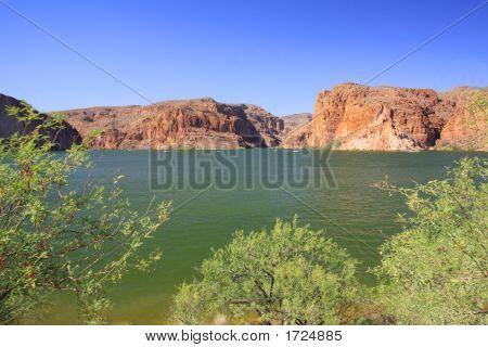 Lake Scene And Mountains