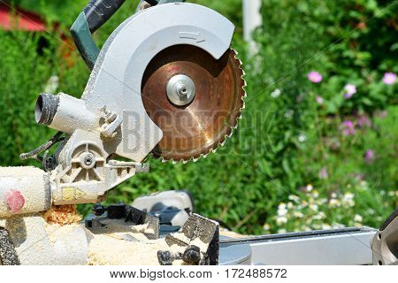 Circular saw and on the background of nature in summer