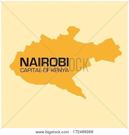 simple outline map of Kenyas capital Nairobi