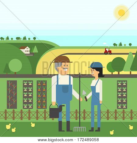 Landscape Farm two farmers care for their land planting pets. Vector material design