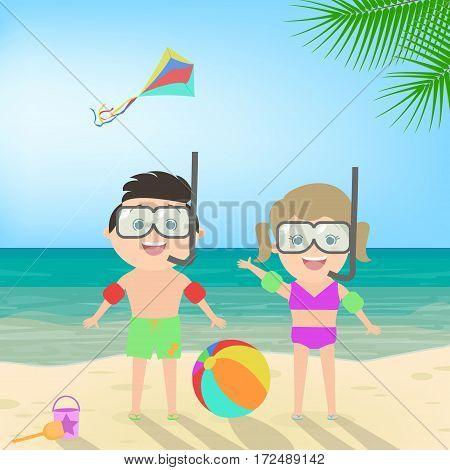 Summer beach holiday. Boy and girl in scuba mask at the beach. Diving. Sea landscape vector cartoon