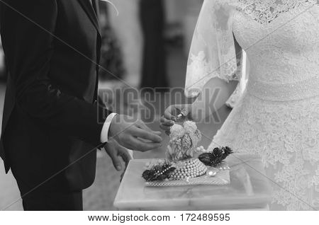 The groom wears the ring bride. Wedding ceremony.