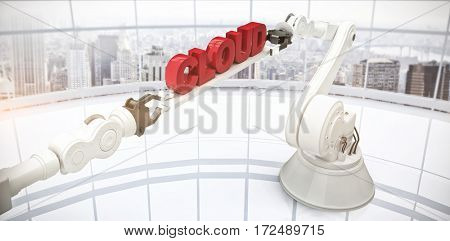 Composite image of mechanical robotic hands holding cloud text against modern room overlooking city