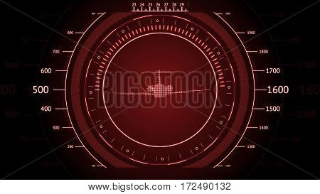 Red screen Navigation with airplane. Futuristic HUD interface. Screen with airplane. High tech background. Abstract virtual graphic touch user interface.