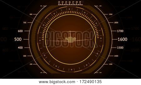 Orange screen Navigation with airplane. Futuristic HUD interface. Screen with airplane. High tech background. Abstract virtual graphic touch user interface.