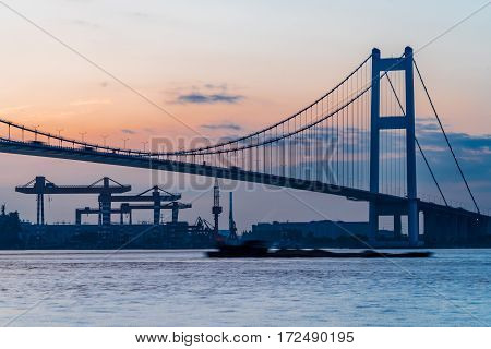 view of Jiangyin Yangtze Bridge in China.