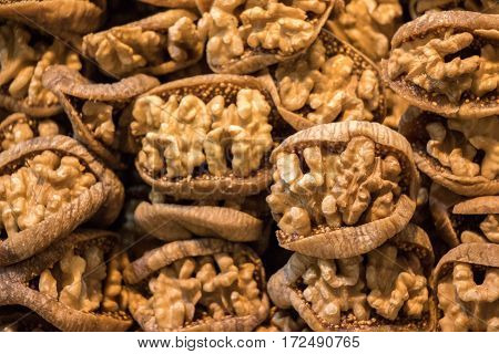 Pile Of Whole Walnuts  Without Nutshells In Fig