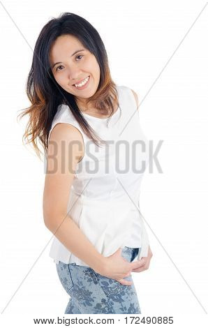 Indoor portrait of a cheerful asian woman