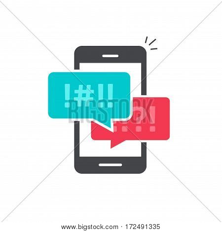 Argue chat bubbles on mobile phone icon vector, concept of smartphone argument messages, rude dialog, arguing couple chatting, conflict speech, discussion, abuse isolated on white background