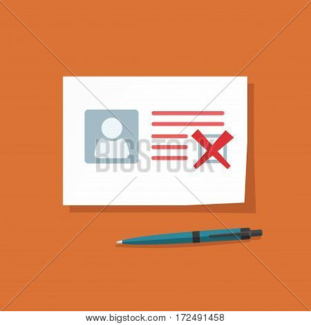 Document with declined checkmark vector illustration, personal data doc with failed checkbox, paper sheet official application rejected, blank isolated
