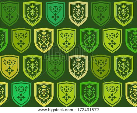 Emblems, seamless background, green, vector. Vector background with a green emblem on a dark green background. The coat of arms depicts twigs and flowers. The coat of arms. Natural pattern.