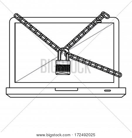 figure computer with chain and lock icon image, vector illustration design