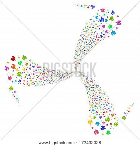 Fire fireworks swirl rotation. Vector illustration style is flat bright multicolored iconic symbols on a white background. Object whirlpool combined from random symbols.