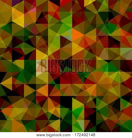 Background Made Of Brown, Green, Black Triangles. Square Composition With Geometric Shapes. Eps 10